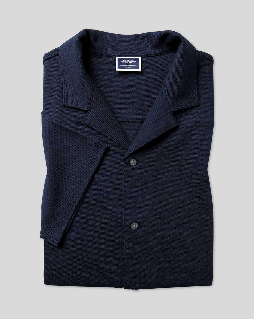 Tyrwhitt Pique Resort Collar Shirt - Navy