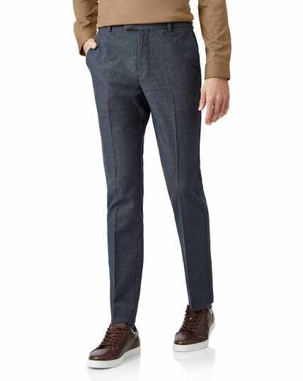 Blue non-iron cotton stretch texture tailored pants