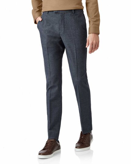 Blue non-iron cotton stretch texture tailored trousers