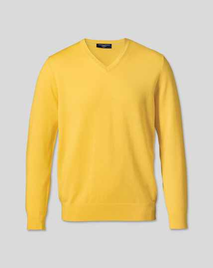 Merino V-Neck Sweater - Yellow