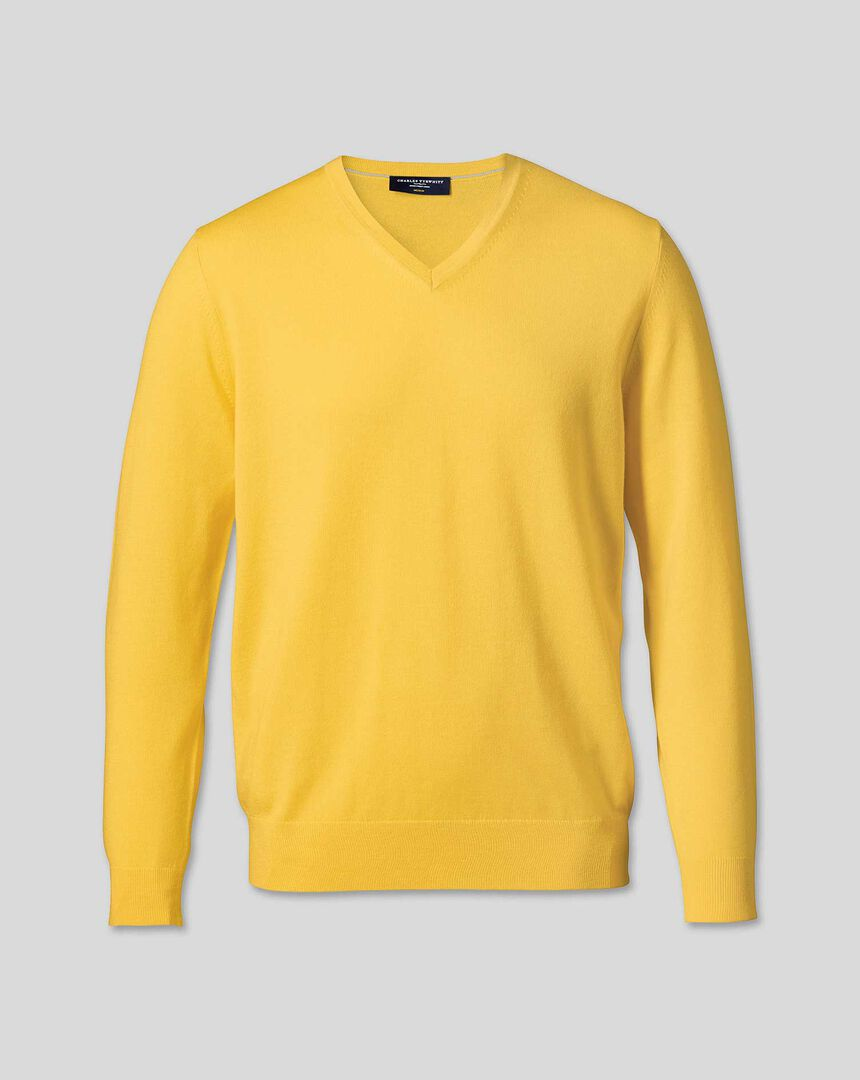 Merino V-Neck Jumper - Yellow