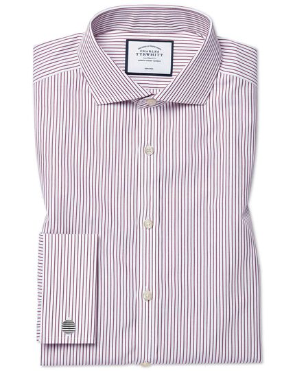 Cutaway Non-Iron Stripe Shirt - Burgundy