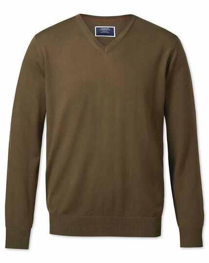 Pullover mit V-Ausschnitt aus Merino in Oliv
