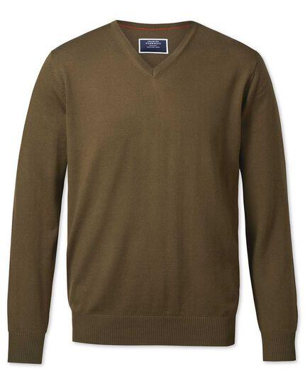 Olive v-neck merino sweater