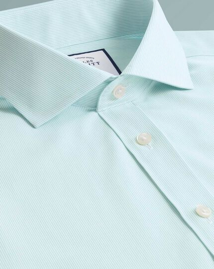 Chemise turquoise en popeline Tyrwhitt Cool coupe droite à rayures sans repassage