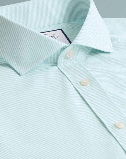 Popelinehemd Slim Fit Bügelfrei Tyrwhitt Cool mit Streifen in Aquablau