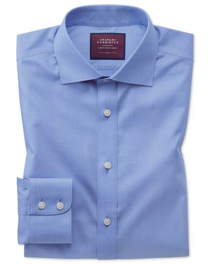 Classic fit luxury non-iron Prince of Wales check blue shirt