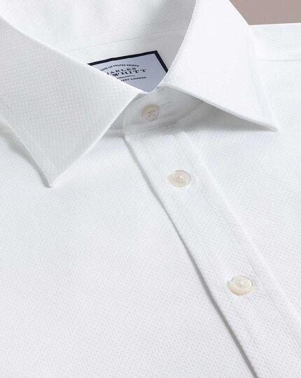 Chemise blanche en coton égyptien avec armure à carrés extra slim fit