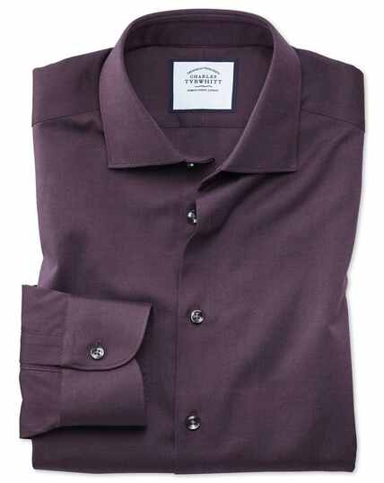Slim fit business casual berry royal Oxford shirt