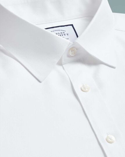 Extra slim fit white non-iron twill shirt