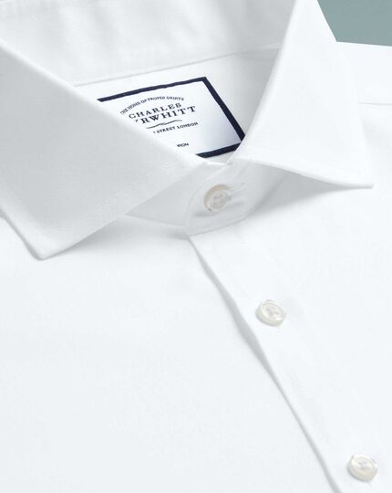 Super slim fit white non-iron twill spread collar shirt