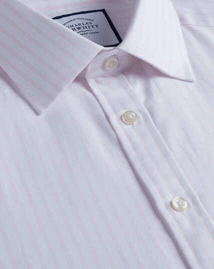 Hemd aus gebürstetem Basketweave mit Streifen - Rosa