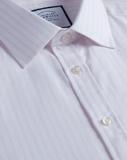 Brushed-Back Basketweave Striped Shirt - Pink