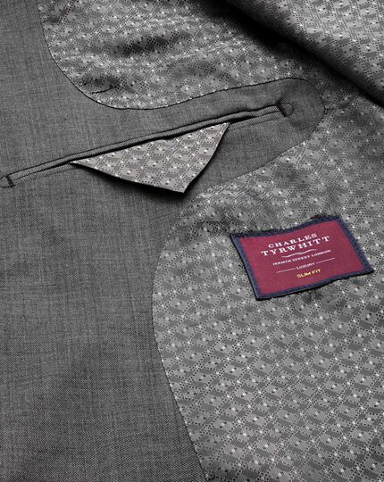 Light grey slim fit wool with cashmere Italian suit jacket