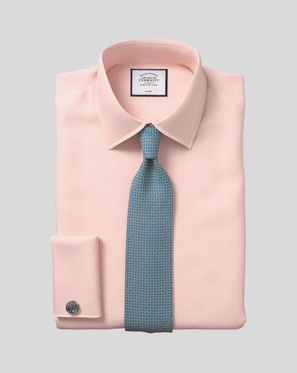 Bügelfreies Hemd mit Kent Kragen und Micro-Diamond-Muster - Apricot
