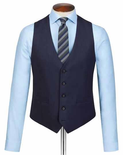 Navy slim fit sharkskin travel suit waistcoat