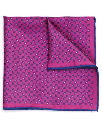 Pink silk diamond printed pocket square