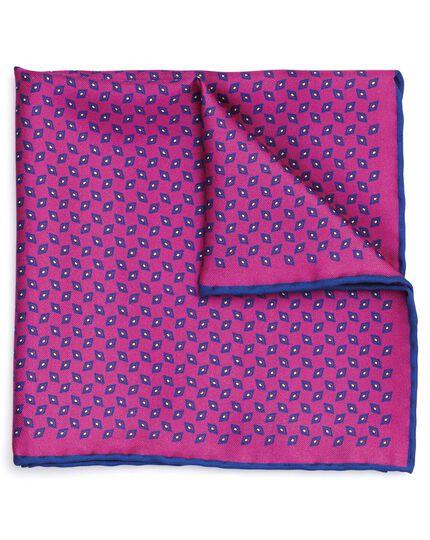 Pink silk diamond printed pocket square