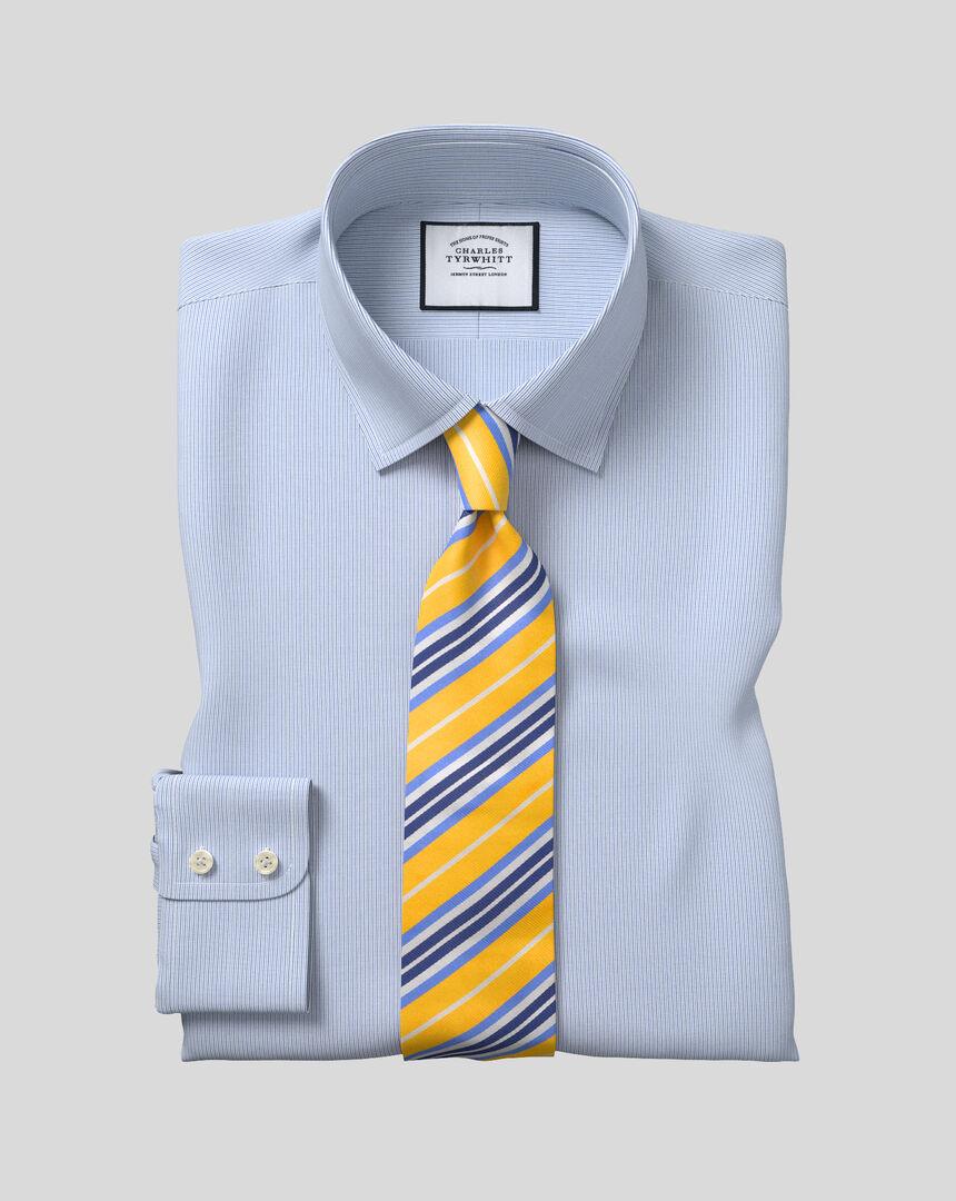 Popeline-Hemd mit Kent Kragen und Streifen -  Blau