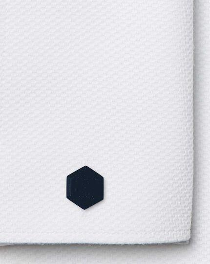 Blue gold stone hexagon luxury cufflinks