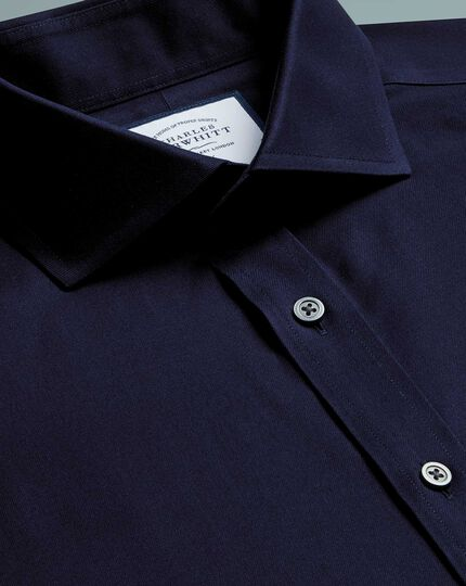 Slim fit navy cutaway collar non-iron twill shirt