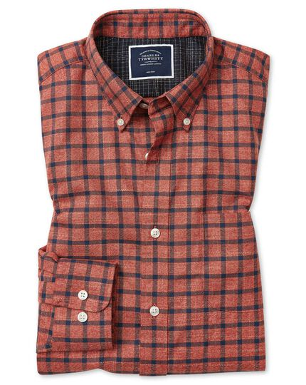 Classic fit soft washed non-iron twill orange and navy windowpane check shirt