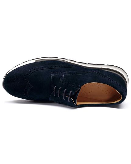 Navy suede wingtip Derby trainer