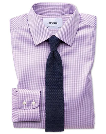 Extra Slim Fit Non Iron Puppytooth Lilac Shirt Charles