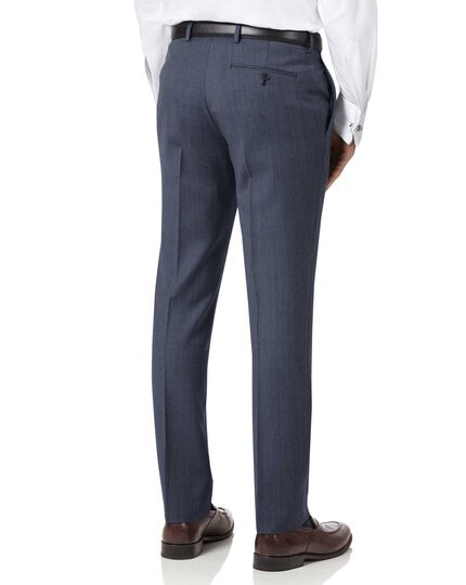 Light blue slim fit twill business suit pants
