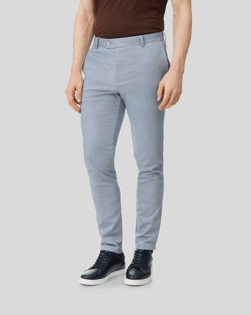 Non-Iron Twill Texture Trousers - Light Blue