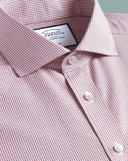 Classic fit non-iron Tyrwhitt Cool poplin check berry shirt