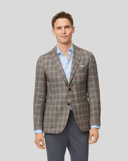 Luxury Italian Check Wool Mix Jacket - Fawn