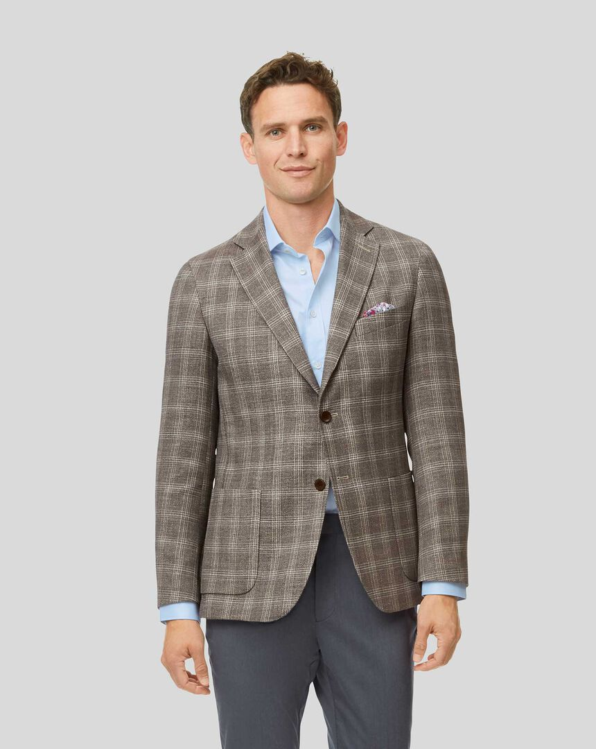 Luxury Italian Check Wool Mix Jacket - Fawn