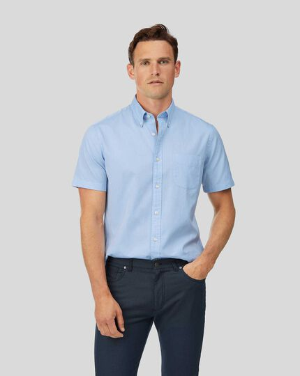Button-Down Collar Short Sleeve Washed Oxford Shirt - Sky