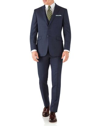 Slim Fit Business Anzug aus Hairline in Airforceblau