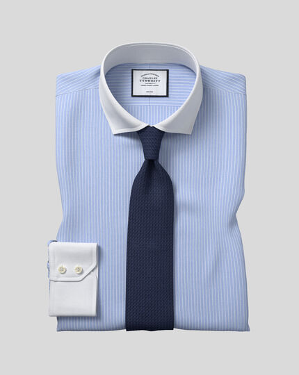 Spread Winchester Collar Non-Iron Winchester Stripe Shirt- Blue & White