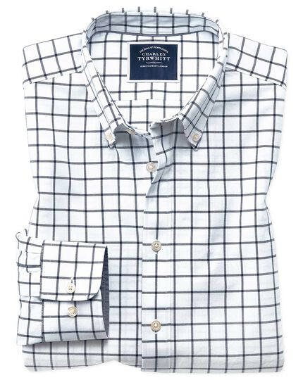 ec501ecd7 Extra slim fit white and navy check button-down washed Oxford shirt |  Charles Tyrwhitt
