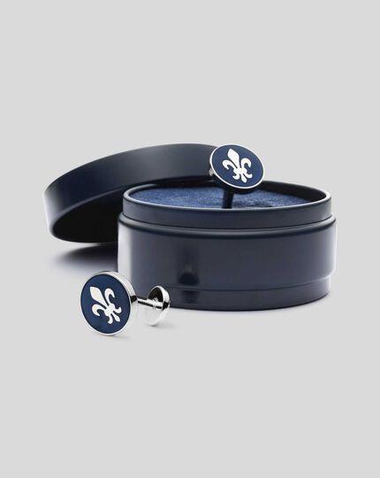 Runde Emaille-Manschettenknöpfe mit heraldischer Lilie - Marineblau