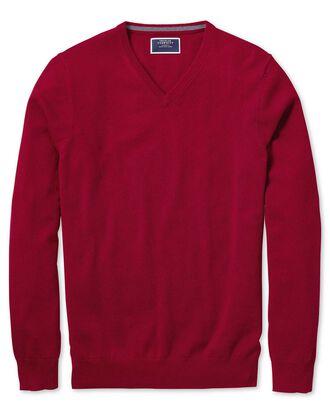 Red v-neck cashmere jumper