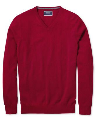 Red v-neck cashmere jumper