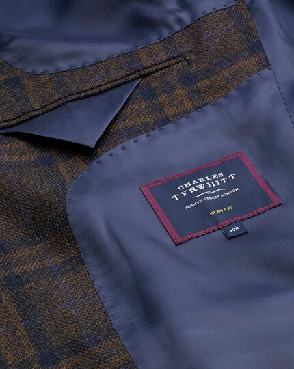 Textured Wool Jacket - Brown & Navy