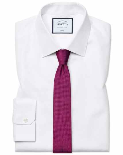 Wit strijkvrij overhemd met ingeweven streepjes, superslanke pasvorm