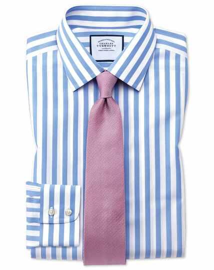 Bügelfreies Extra Slim Fit Hemd mit Bengal-Streifen in Himmelblau