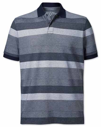 Navy and white textured stripe polo