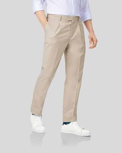 Pantalon chino à plis simples sans repassage - Gris clair