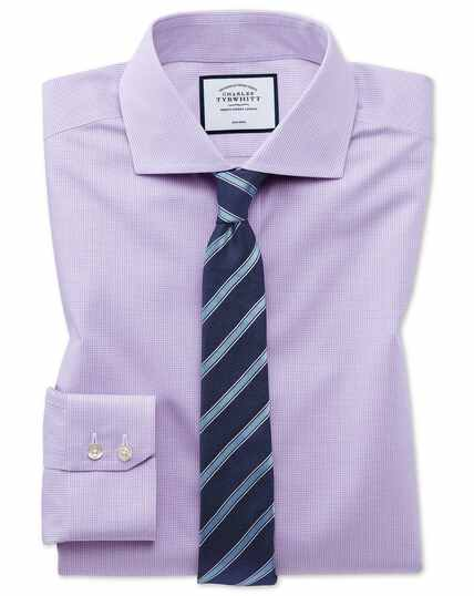 Chemise lilas en tissu stretch quadri-extensible extra slim fit à carreaux simples sans repassage