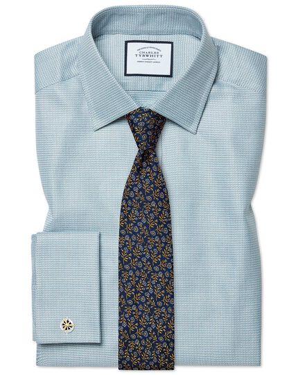 Classic Fit Hemd aus ägyptischer Baumwolle mit Chevron-Muster in Aquamarin