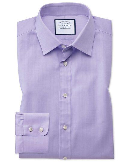 Slim Fit Hemd mit feinem Fischgrätmuster in Flieder