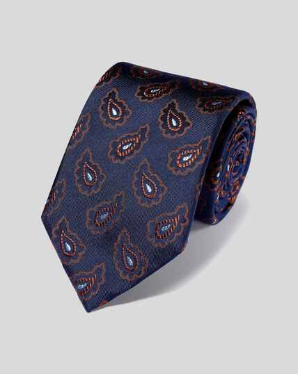 Silk Paisley Tie - Navy & Orange