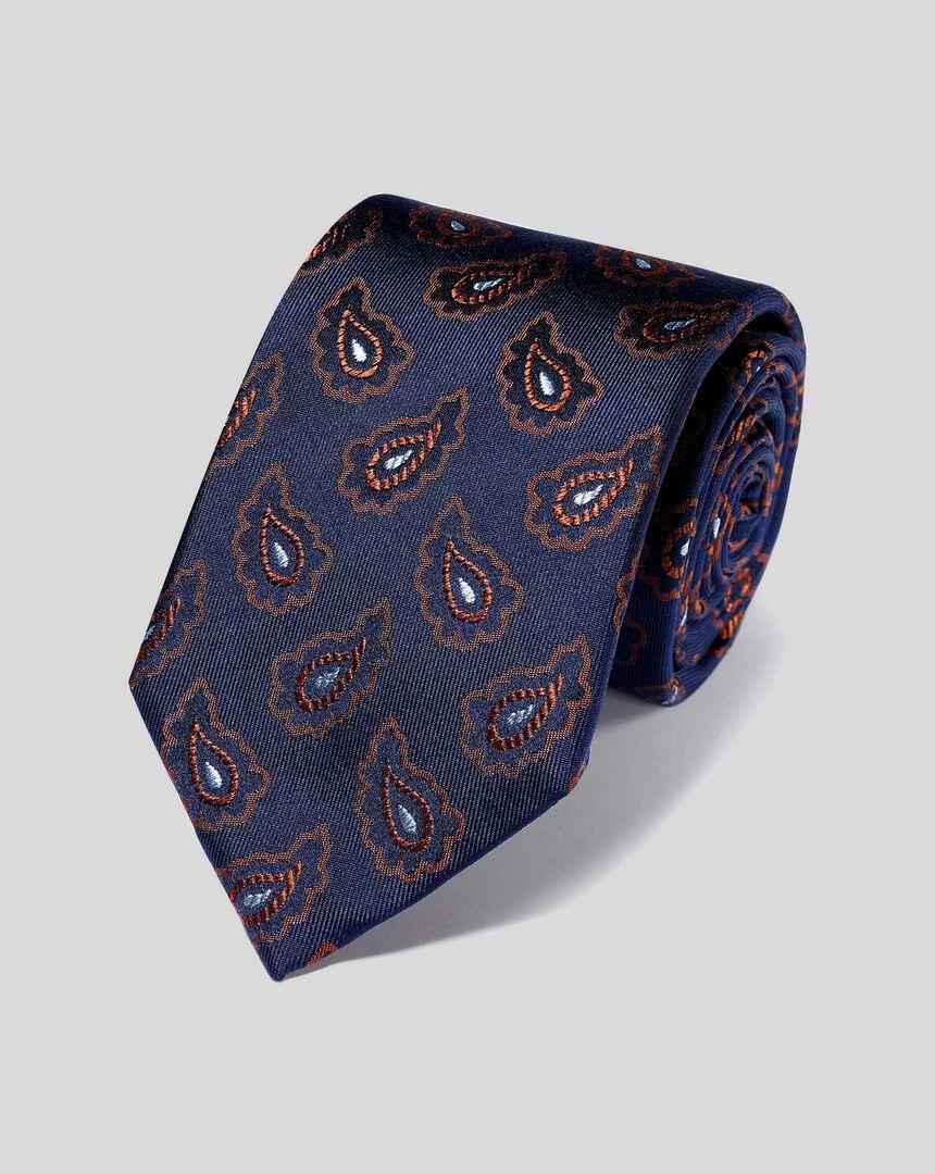 Silk Paisley Classic Tie - Navy & Orange